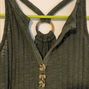 Green wide rib knit ring back Maurices tank